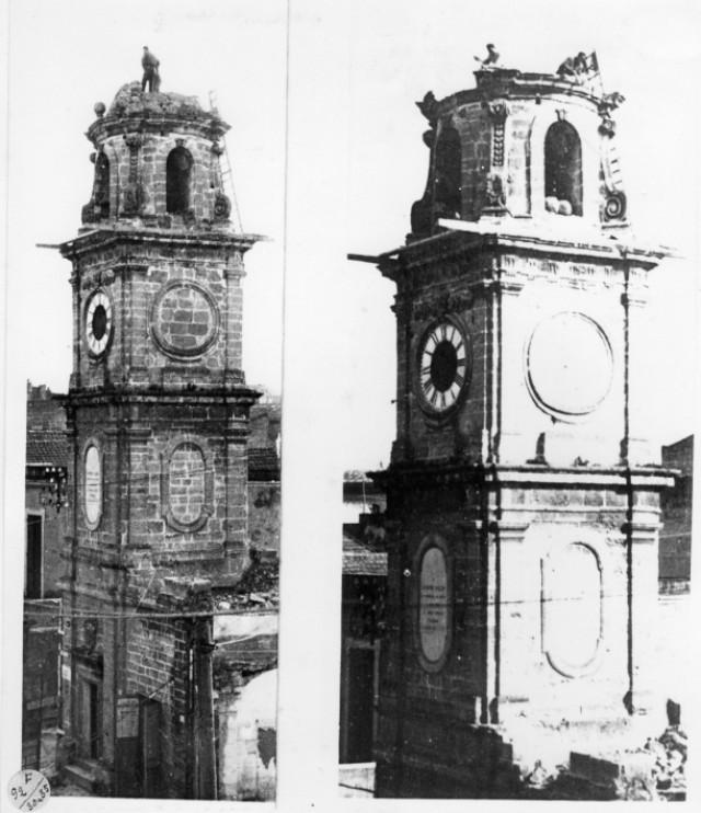img677 - Piazza Sedile, Torre dell'orologio, I primi colpi di piccone per la demolizione