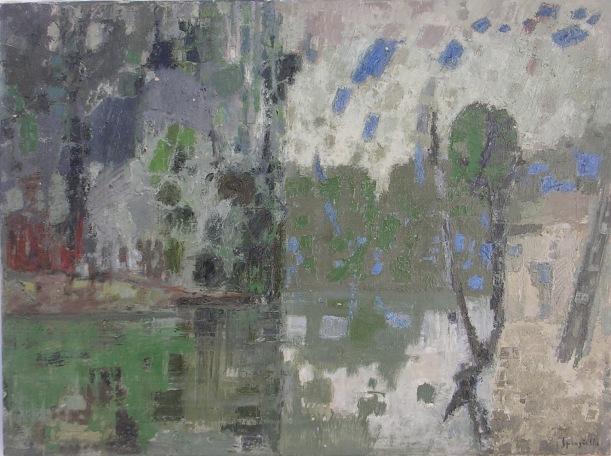 Tav. 5 Fiume Lombardo 1962 olio 60 x 80