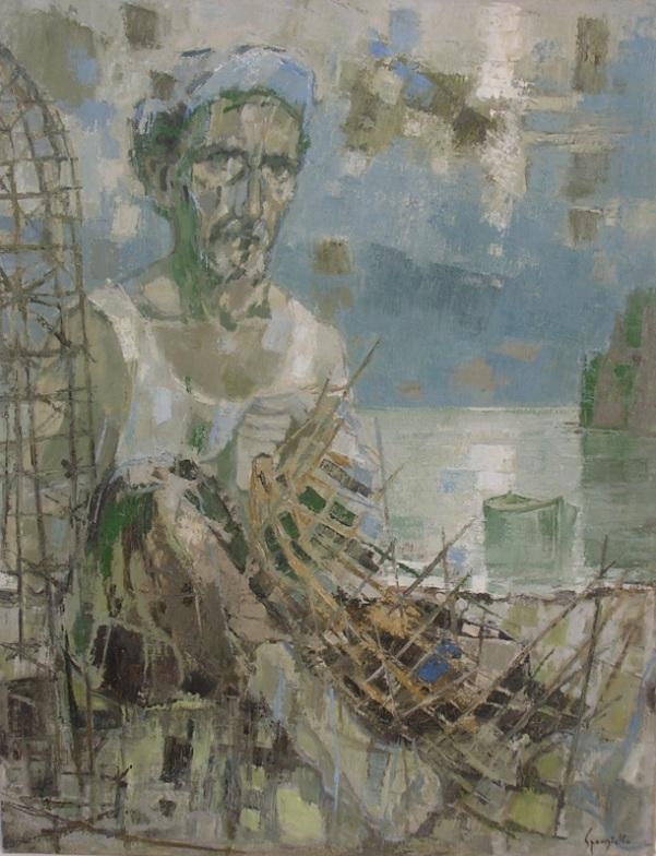 Tav. 6 Il pescatore e la nassa, autoritratto 1966 olio 70 x 90