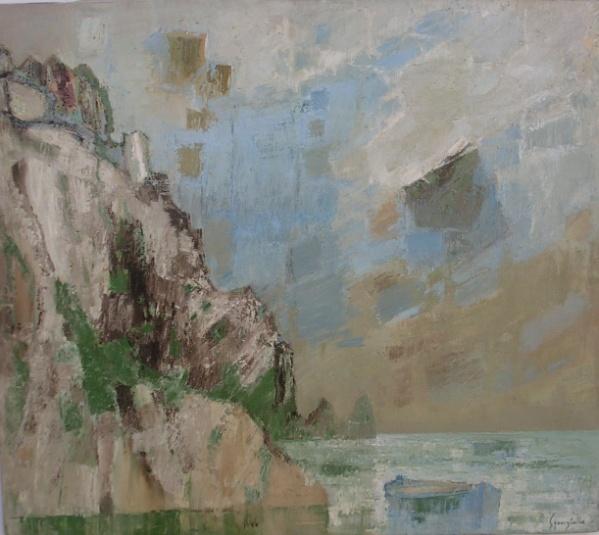 Tav. 7 Cinque Terre (Manarola) 1966 olio 80 x 70