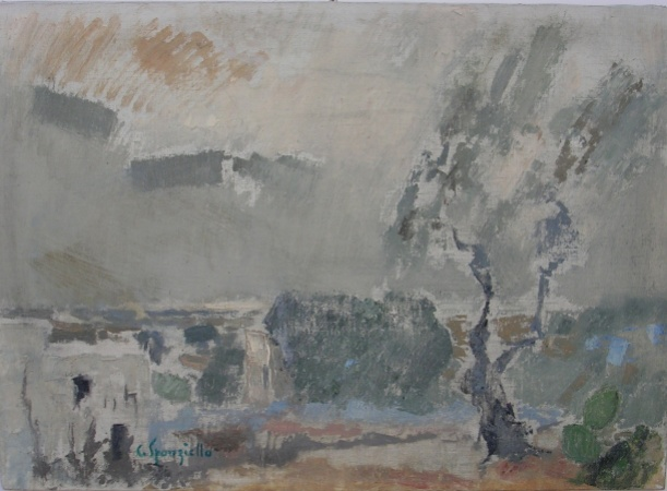 Tav. 9 Paesaggi Pugliese 1974 olio 50 x 70